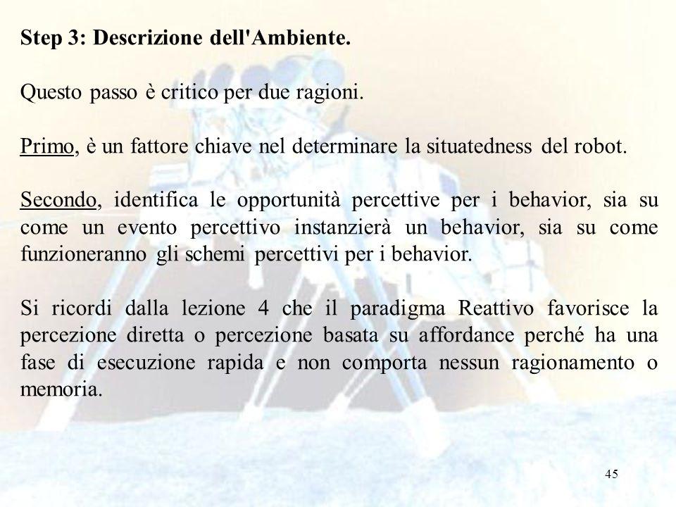 45 Step 3: Descrizione dell'Ambiente. Questo passo è critico per due ragioni. Primo, è un fattore chiave nel determinare la situatedness del robot. Se