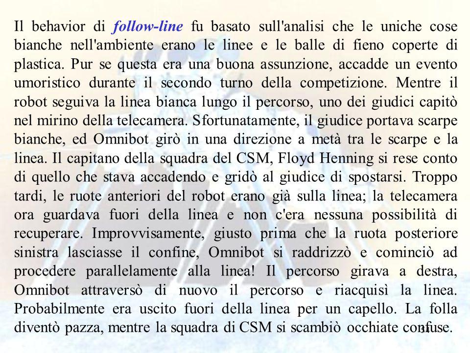 54 Il behavior di follow-line fu basato sull'analisi che le uniche cose bianche nell'ambiente erano le linee e le balle di fieno coperte di plastica.