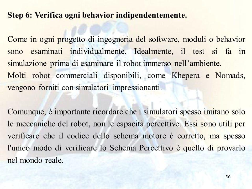 56 Step 6: Verifica ogni behavior indipendentemente. Come in ogni progetto di ingegneria del software, moduli o behavior sono esaminati individualment