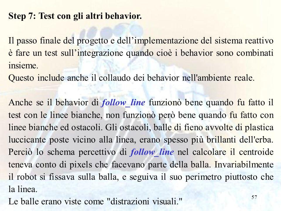 57 Step 7: Test con gli altri behavior. Il passo finale del progetto e dell'implementazione del sistema reattivo è fare un test sull'integrazione quan