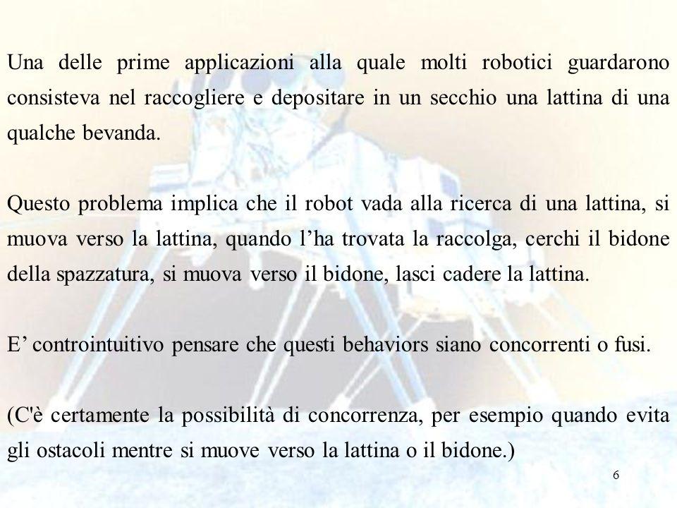 6 Una delle prime applicazioni alla quale molti robotici guardarono consisteva nel raccogliere e depositare in un secchio una lattina di una qualche b