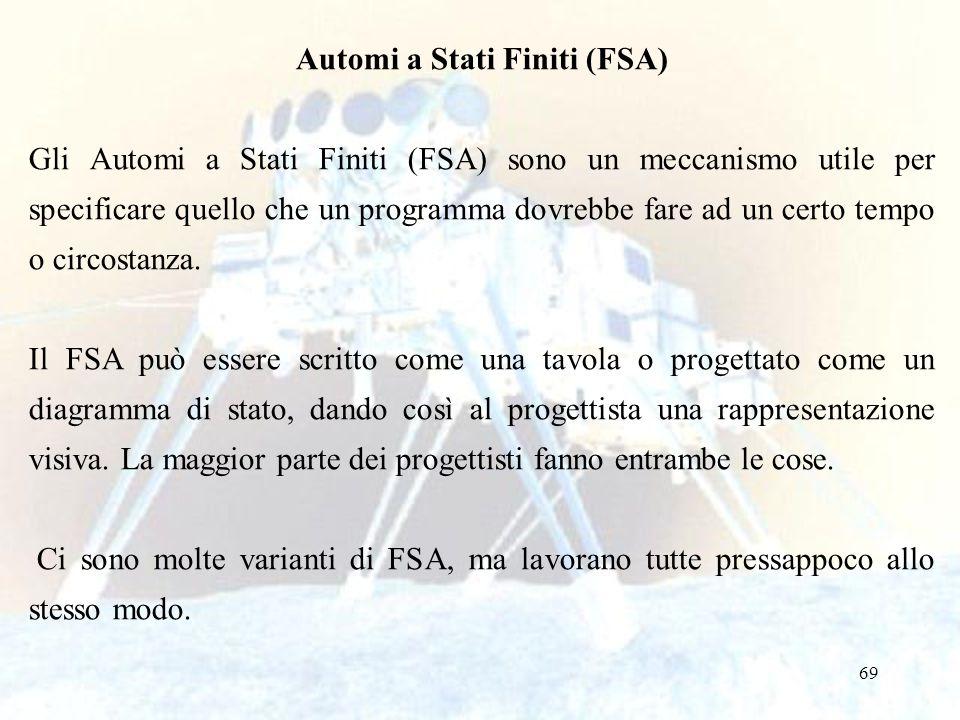 69 Automi a Stati Finiti (FSA) Gli Automi a Stati Finiti (FSA) sono un meccanismo utile per specificare quello che un programma dovrebbe fare ad un ce