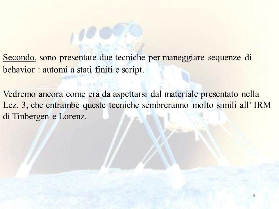50 Step 4: Descrizione delle reazioni del robot in risposta all'ambiente.