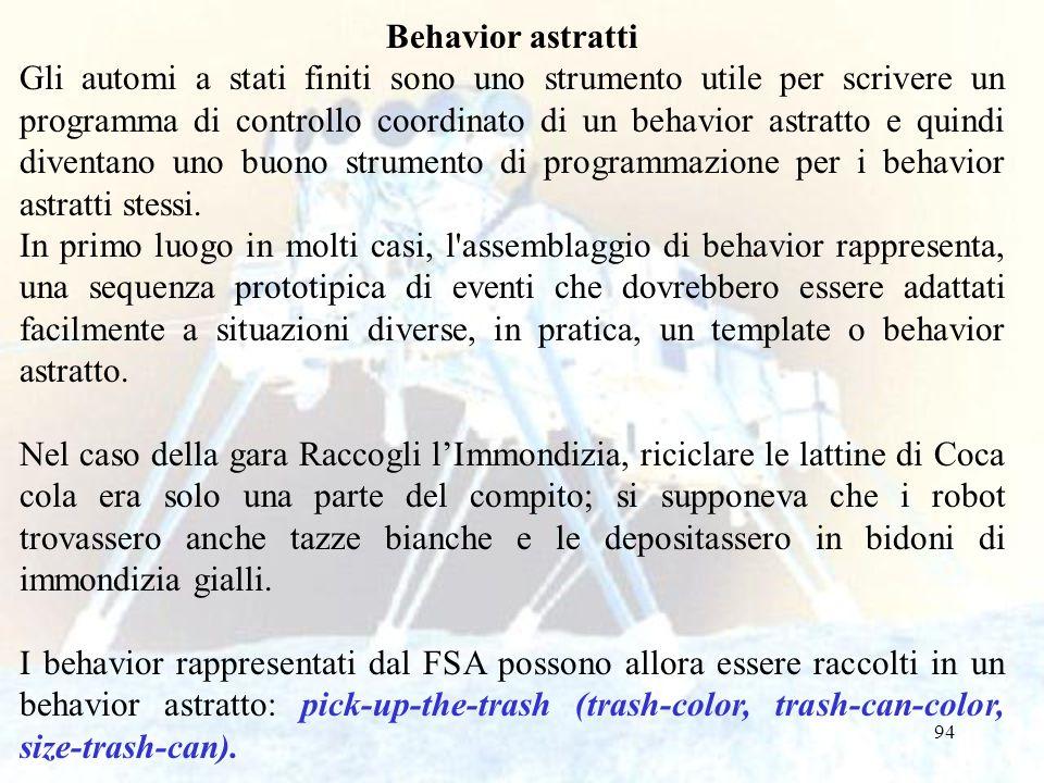 94 Behavior astratti Gli automi a stati finiti sono uno strumento utile per scrivere un programma di controllo coordinato di un behavior astratto e qu