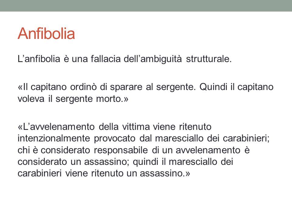 Anfibolia L'anfibolia è una fallacia dell'ambiguità strutturale. «Il capitano ordinò di sparare al sergente. Quindi il capitano voleva il sergente mor