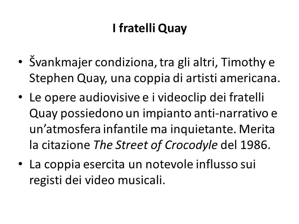 I fratelli Quay Švankmajer condiziona, tra gli altri, Timothy e Stephen Quay, una coppia di artisti americana. Le opere audiovisive e i videoclip dei