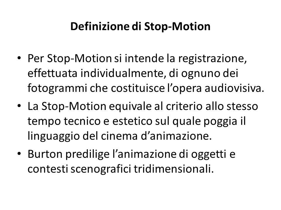 Definizione di Stop-Motion Per Stop-Motion si intende la registrazione, effettuata individualmente, di ognuno dei fotogrammi che costituisce l'opera a