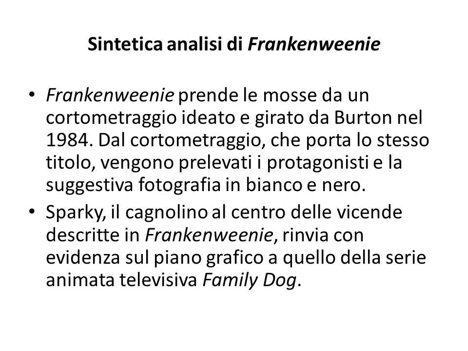 Sintetica analisi di Frankenweenie Frankenweenie prende le mosse da un cortometraggio ideato e girato da Burton nel 1984. Dal cortometraggio, che port