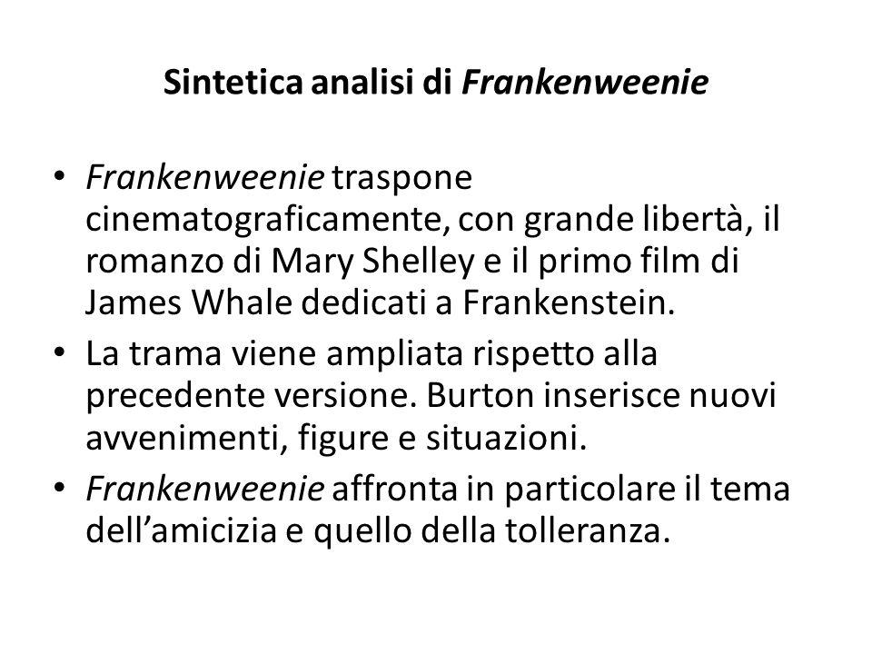 Sintetica analisi di Frankenweenie Frankenweenie traspone cinematograficamente, con grande libertà, il romanzo di Mary Shelley e il primo film di Jame
