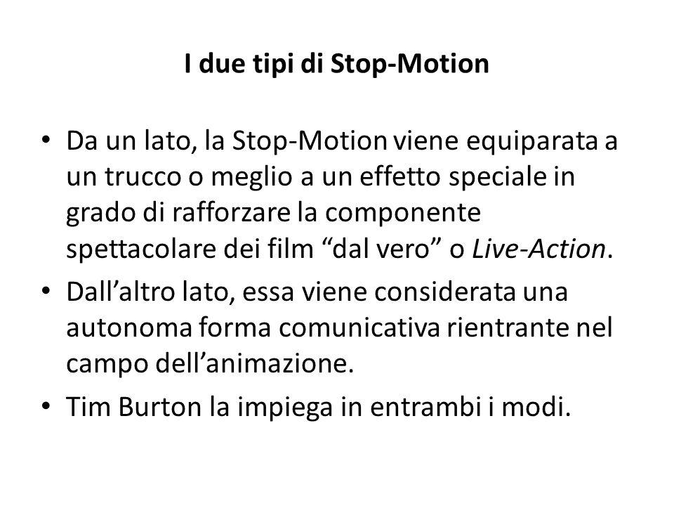 I due tipi di Stop-Motion Da un lato, la Stop-Motion viene equiparata a un trucco o meglio a un effetto speciale in grado di rafforzare la componente