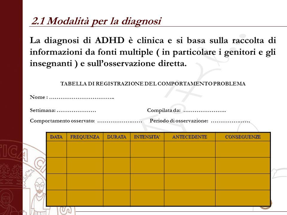 Università degli Studi di Salerno La diagnosi di ADHD è clinica e si basa sulla raccolta di informazioni da fonti multiple ( in particolare i genitori