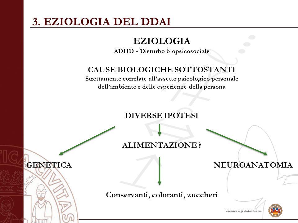 Università degli Studi di Salerno EZIOLOGIA ADHD - Disturbo biopsicosociale CAUSE BIOLOGICHE SOTTOSTANTI Strettamente correlate all'assetto psicologic