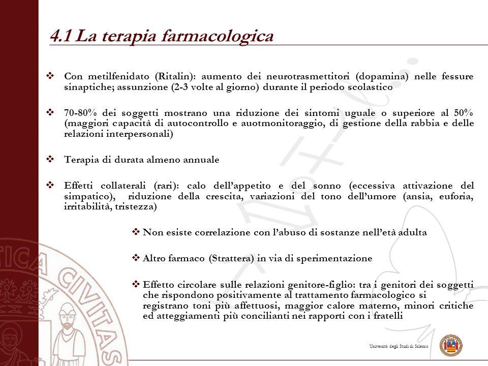 Università degli Studi di Salerno 4.1 La terapia farmacologica  Con metilfenidato (Ritalin): aumento dei neurotrasmettitori (dopamina) nelle fessure