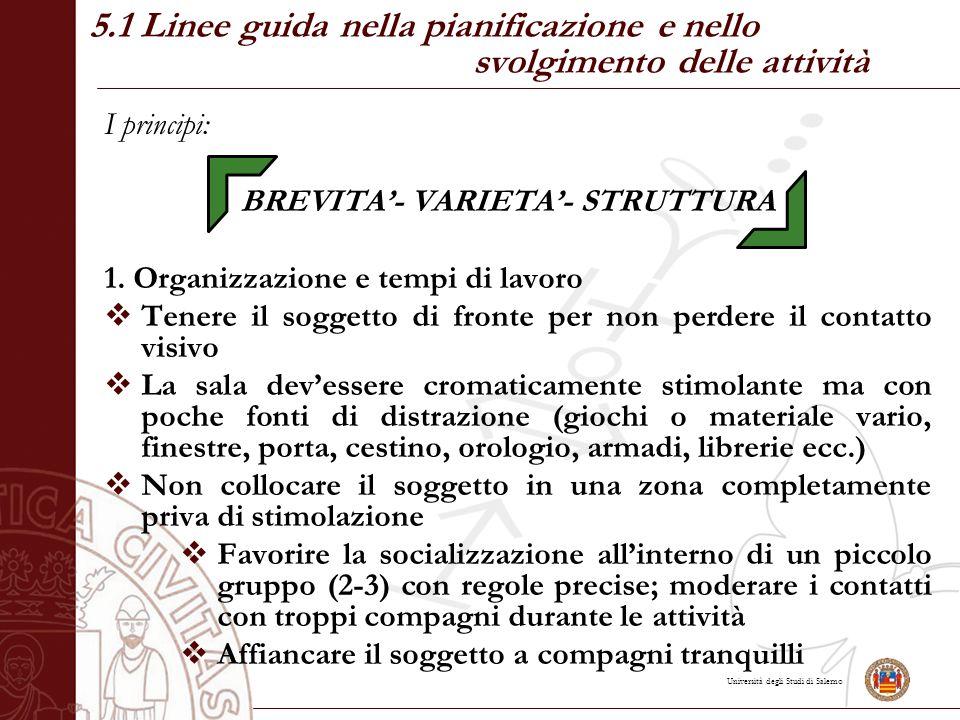 Università degli Studi di Salerno 5.1 Linee guida nella pianificazione e nello svolgimento delle attività I principi: BREVITA'- VARIETA'- STRUTTURA 1.