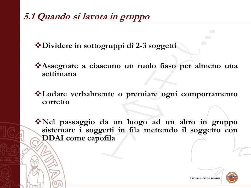Università degli Studi di Salerno  Dividere in sottogruppi di 2-3 soggetti  Assegnare a ciascuno un ruolo fisso per almeno una settimana  Lodare ve