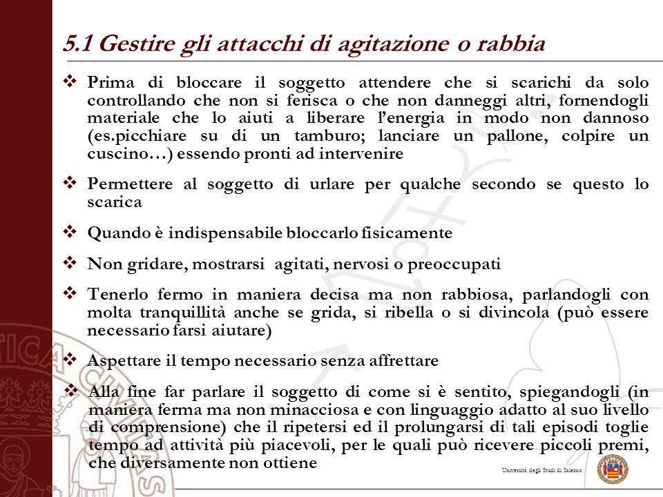 Università degli Studi di Salerno  Prima di bloccare il soggetto attendere che si scarichi da solo controllando che non si ferisca o che non danneggi