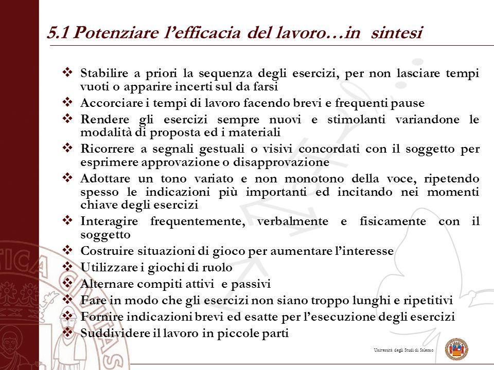 Università degli Studi di Salerno  Stabilire a priori la sequenza degli esercizi, per non lasciare tempi vuoti o apparire incerti sul da farsi  Acco