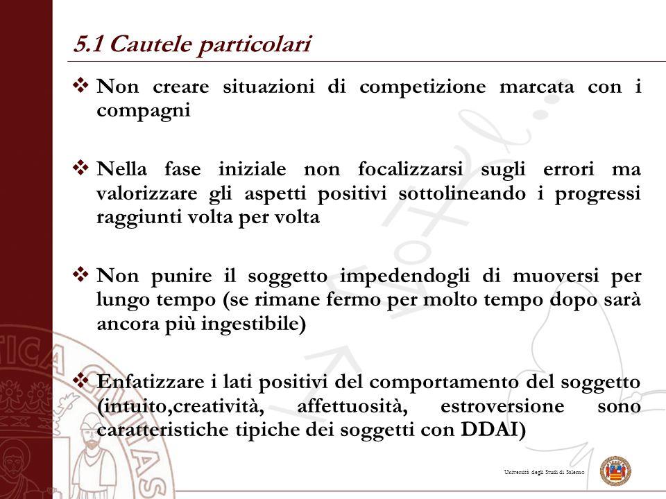 Università degli Studi di Salerno  Non creare situazioni di competizione marcata con i compagni  Nella fase iniziale non focalizzarsi sugli errori m