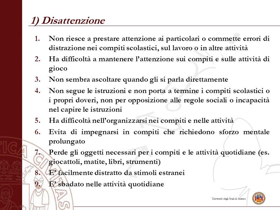 Università degli Studi di Salerno 1) Disattenzione 1.Non riesce a prestare attenzione ai particolari o commette errori di distrazione nei compiti scol