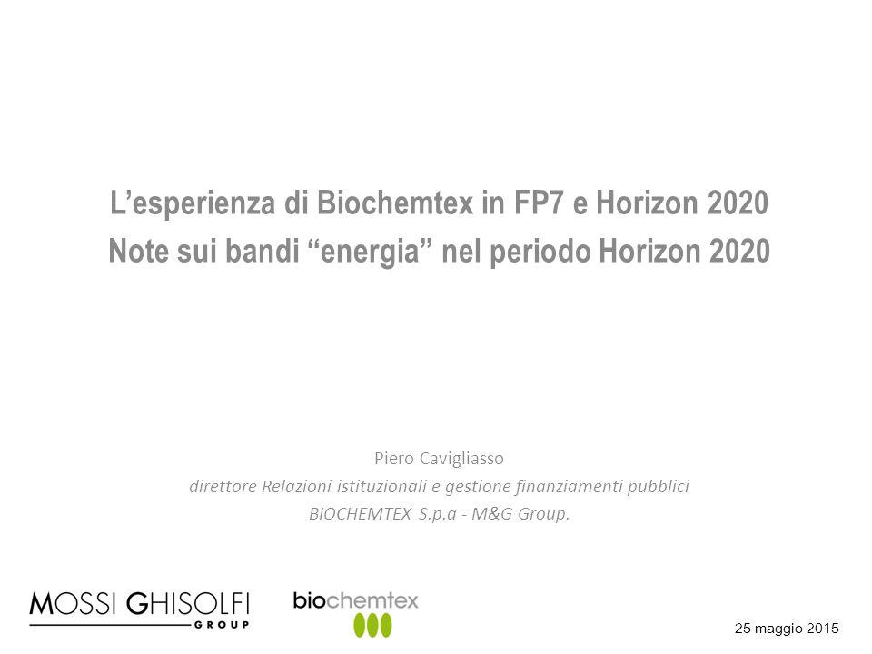 """25 maggio 2015 L'esperienza di Biochemtex in FP7 e Horizon 2020 Note sui bandi """"energia"""" nel periodo Horizon 2020 Piero Cavigliasso direttore Relazion"""