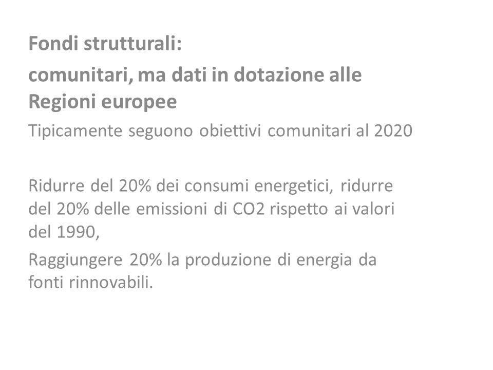 Fondi strutturali: comunitari, ma dati in dotazione alle Regioni europee Tipicamente seguono obiettivi comunitari al 2020 Ridurre del 20% dei consumi
