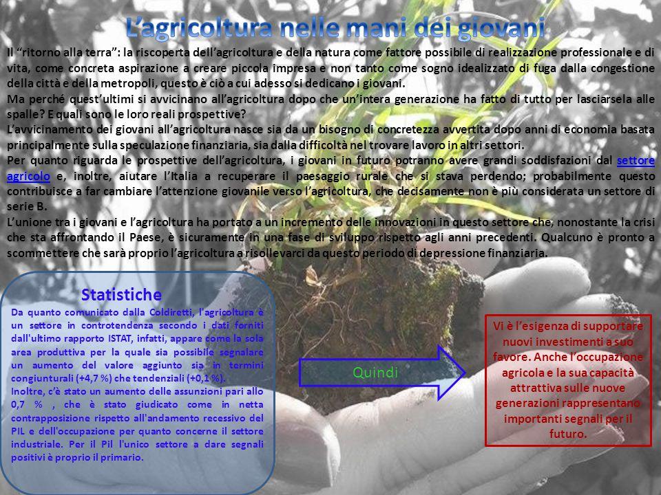"""Il """"ritorno alla terra"""": la riscoperta dell'agricoltura e della natura come fattore possibile di realizzazione professionale e di vita, come concreta"""