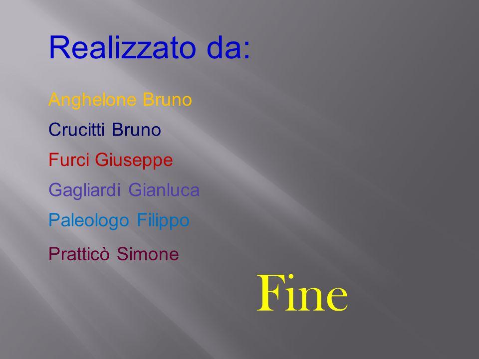 Realizzato da: Crucitti Bruno Furci Giuseppe Gagliardi Gianluca Paleologo Filippo Pratticò Simone Fine Anghelone Bruno
