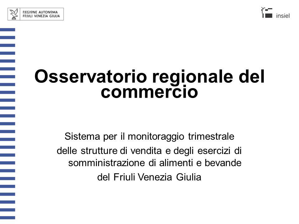 Osservatorio regionale del commercio Sistema per il monitoraggio trimestrale delle strutture di vendita e degli esercizi di somministrazione di alimen