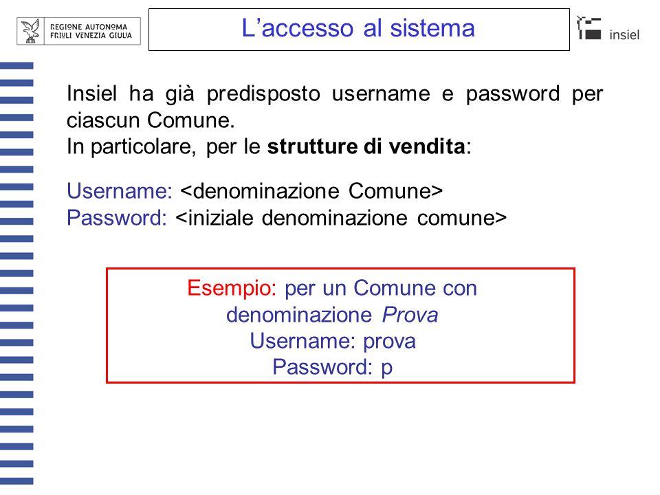 L'accesso al sistema Insiel ha già predisposto username e password per ciascun Comune. In particolare, per le strutture di vendita: Username: Password