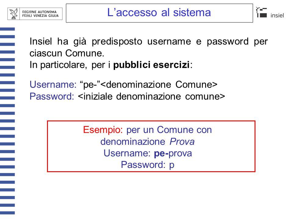 """L'accesso al sistema Insiel ha già predisposto username e password per ciascun Comune. In particolare, per i pubblici esercizi: Username: """"pe-"""" Passwo"""
