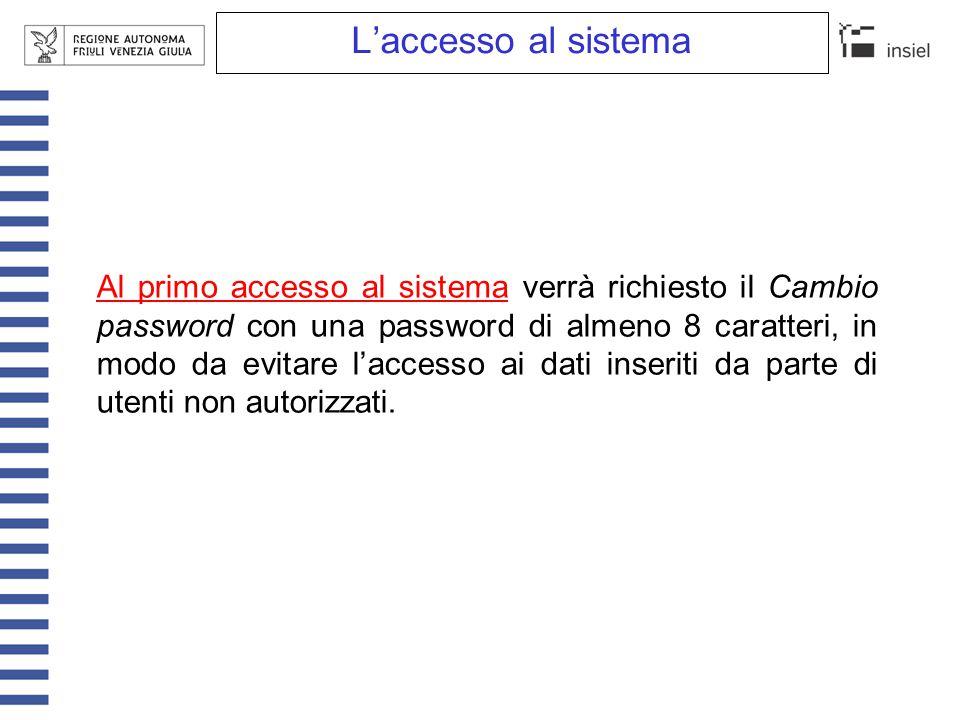 L'accesso al sistema Al primo accesso al sistema verrà richiesto il Cambio password con una password di almeno 8 caratteri, in modo da evitare l'acces