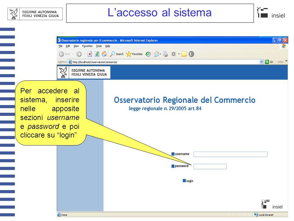 """L'accesso al sistema Per accedere al sistema, inserire nelle apposite sezioni username e password e poi cliccare su """"login"""""""