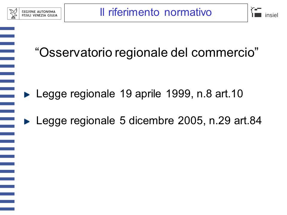 """Il riferimento normativo """"Osservatorio regionale del commercio"""" Legge regionale 19 aprile 1999, n.8 art.10 Legge regionale 5 dicembre 2005, n.29 art.8"""