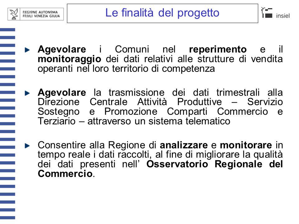 Le finalità del progetto Agevolare i Comuni nel reperimento e il monitoraggio dei dati relativi alle strutture di vendita operanti nel loro territorio