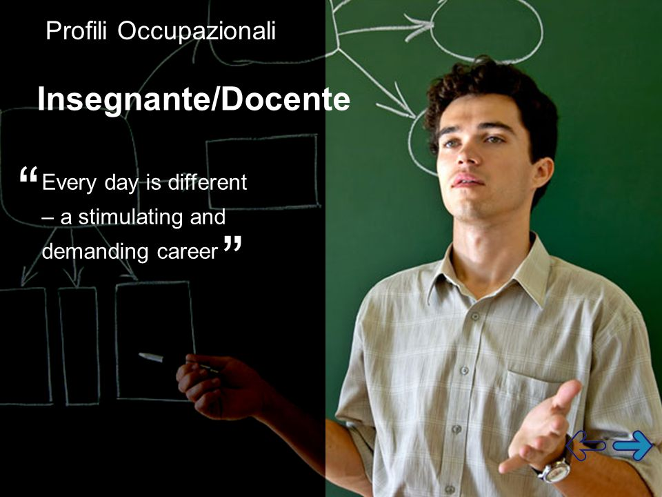 Every day is different – a stimulating and demanding career Insegnante/Docente Profili Occupazionali