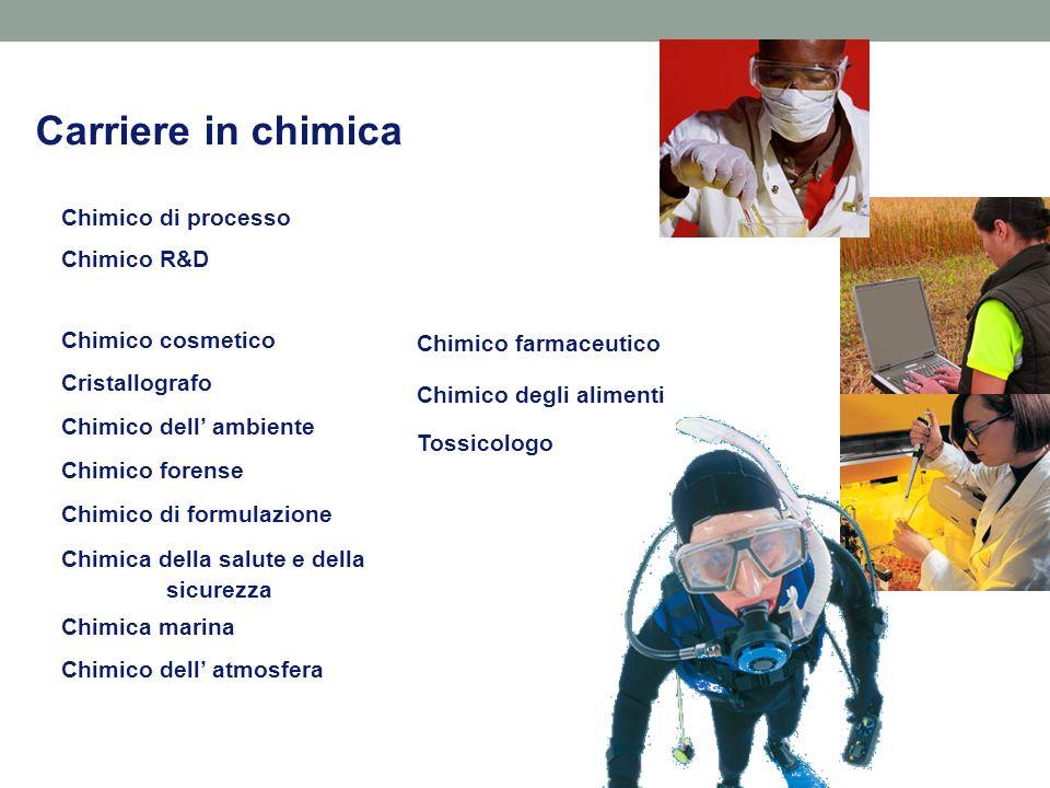 Carriere in chimica Chimico dell' atmosfera Chimico cosmetico Cristallografo Chimico dell' ambiente Chimico forense Chimico di formulazione Chimica della salute e della sicurezza Chimica marina Chimico di processo Chimico R&D Chimico farmaceutico Chimico degli alimenti Tossicologo