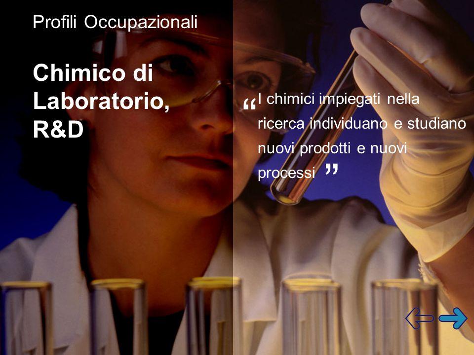 Profili Occupazionali Chimico di Laboratorio, R&D I chimici impiegati nella ricerca individuano e studiano nuovi prodotti e nuovi processi