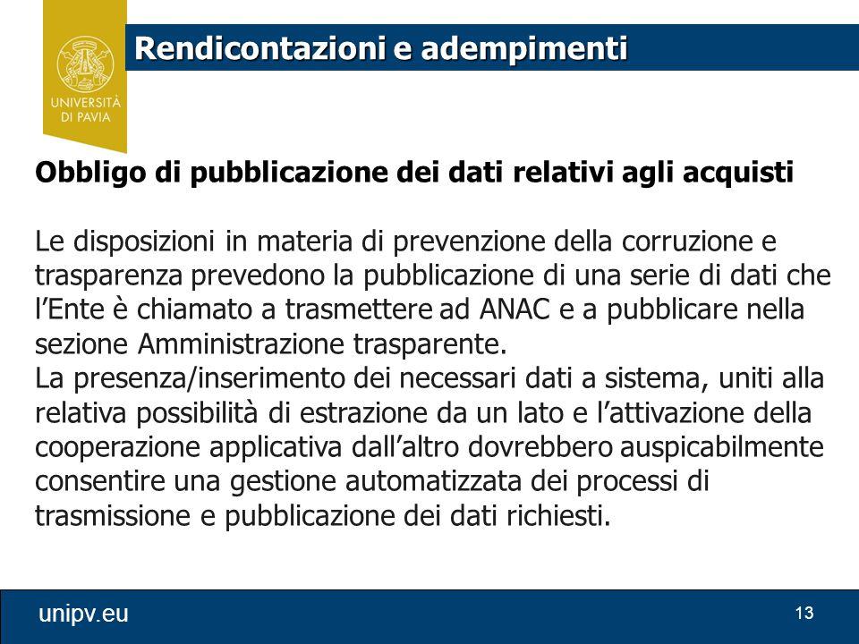13 unipv.eu Rendicontazioni e adempimenti Obbligo di pubblicazione dei dati relativi agli acquisti Le disposizioni in materia di prevenzione della cor