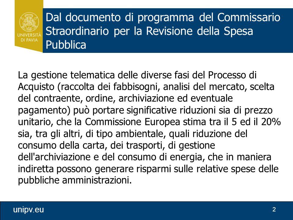 2 unipv.eu Dal documento di programma del Commissario Straordinario per la Revisione della Spesa Pubblica La gestione telematica delle diverse fasi de