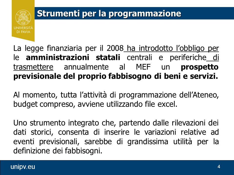 4 unipv.eu Strumenti per la programmazione La legge finanziaria per il 2008 ha introdotto l'obbligo per le amministrazioni statali centrali e periferi