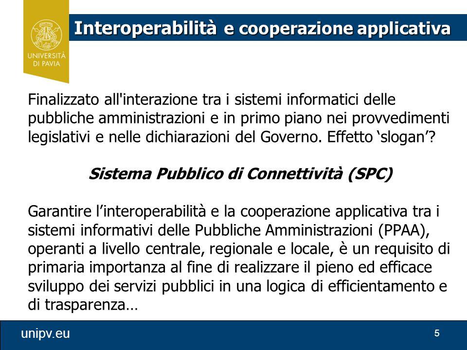 5 unipv.eu Interoperabilità e cooperazione applicativa Finalizzato all'interazione tra i sistemi informatici delle pubbliche amministrazioni e in prim
