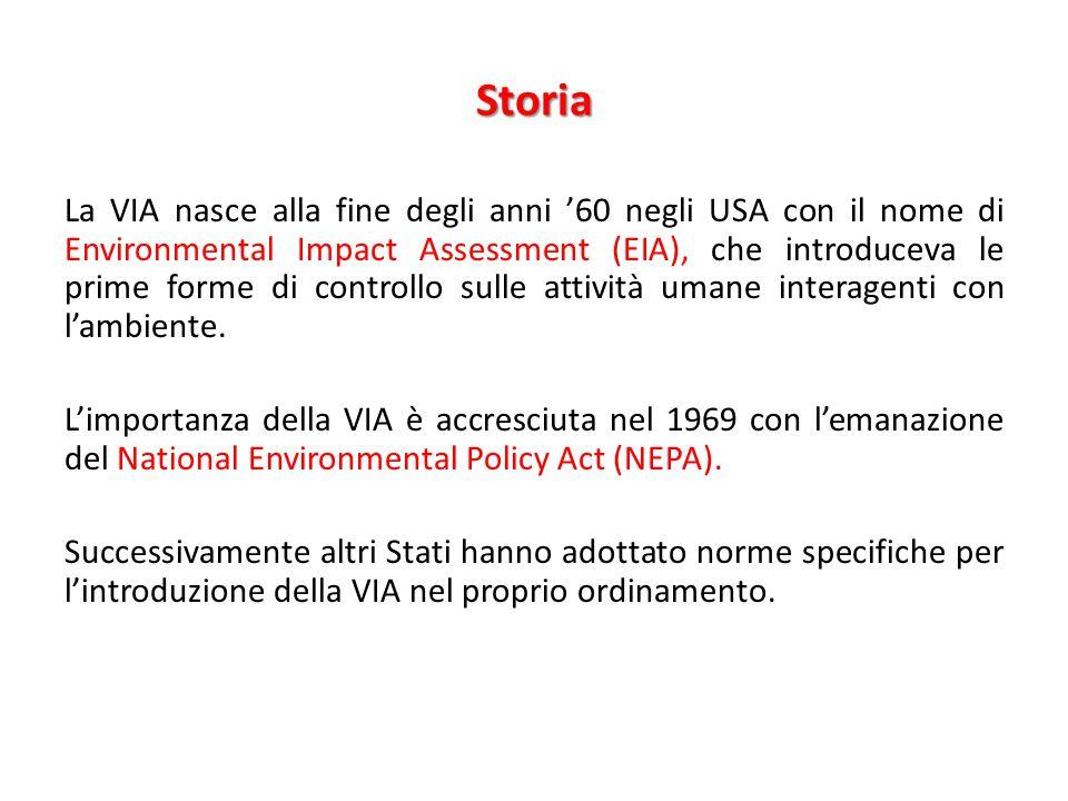Storia La VIA nasce alla fine degli anni '60 negli USA con il nome di Environmental Impact Assessment (EIA), che introduceva le prime forme di control
