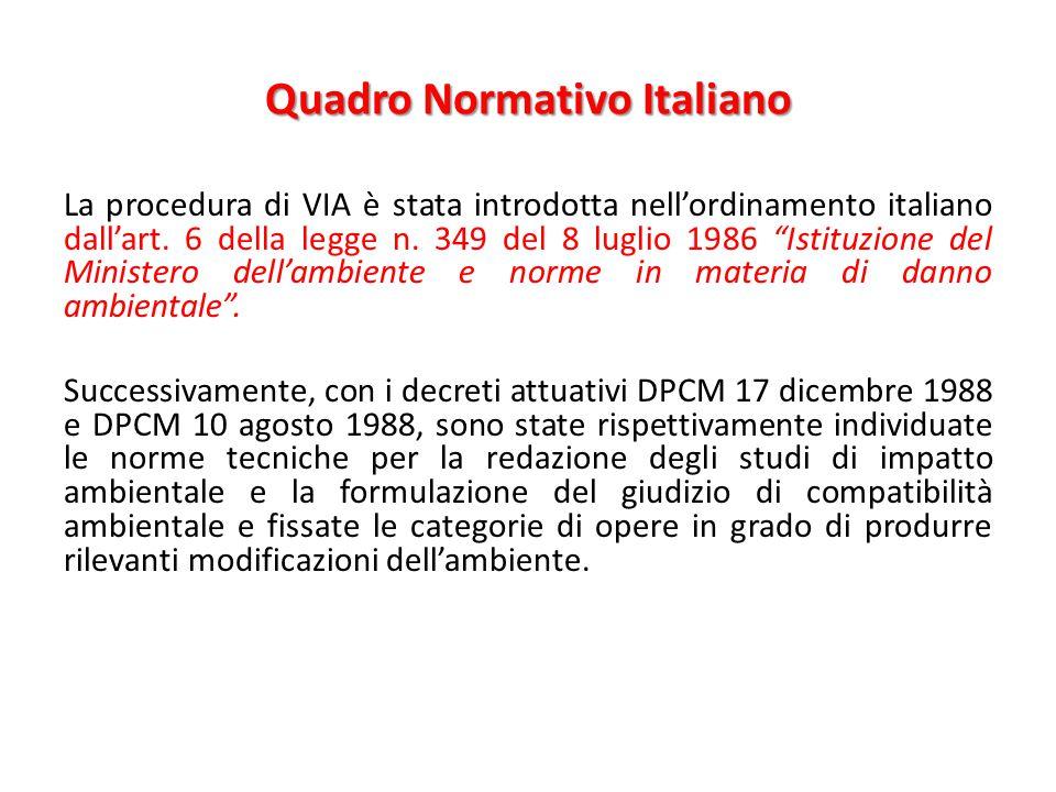 """Quadro Normativo Italiano La procedura di VIA è stata introdotta nell'ordinamento italiano dall'art. 6 della legge n. 349 del 8 luglio 1986 """"Istituzio"""