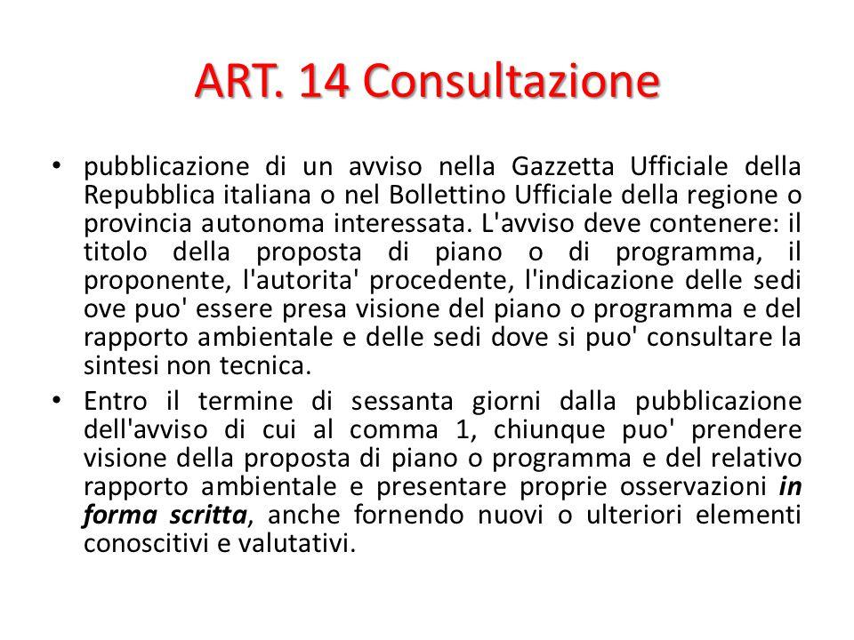 ART. 14 Consultazione pubblicazione di un avviso nella Gazzetta Ufficiale della Repubblica italiana o nel Bollettino Ufficiale della regione o provinc