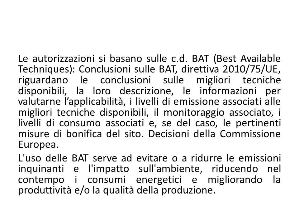 Le autorizzazioni si basano sulle c.d. BAT (Best Available Techniques): Conclusioni sulle BAT, direttiva 2010/75/UE, riguardano le conclusioni sulle m
