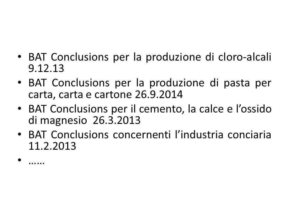 BAT Conclusions per la produzione di cloro-alcali 9.12.13 BAT Conclusions per la produzione di pasta per carta, carta e cartone 26.9.2014 BAT Conclusi