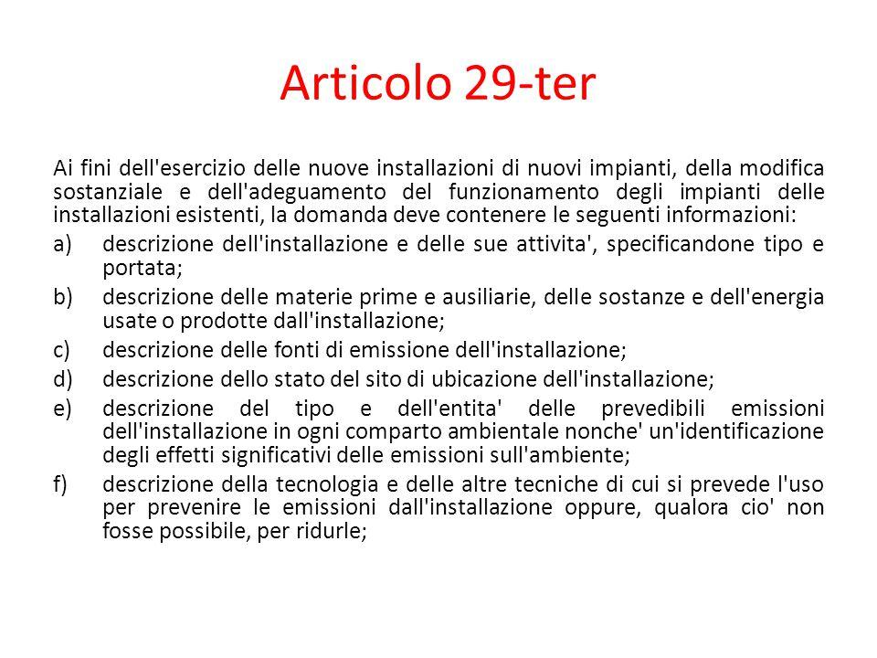 Articolo 29-ter Ai fini dell'esercizio delle nuove installazioni di nuovi impianti, della modifica sostanziale e dell'adeguamento del funzionamento de