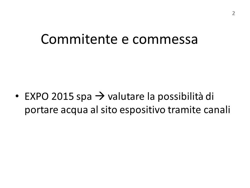 Commitente e commessa EXPO 2015 spa  valutare la possibilità di portare acqua al sito espositivo tramite canali 2
