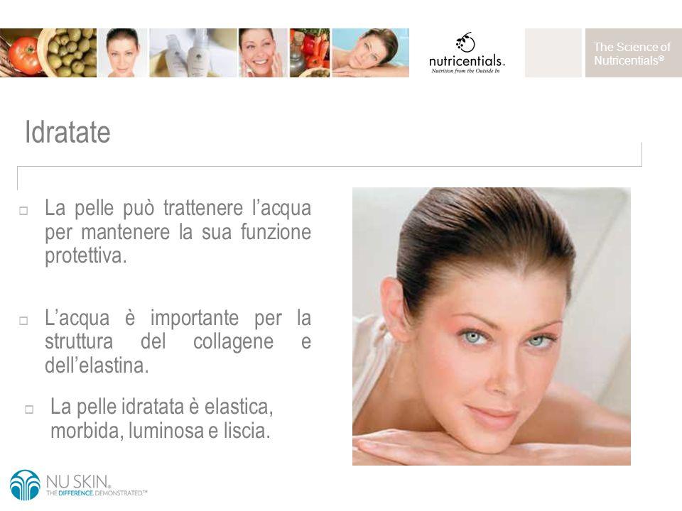 The Science of Nutricentials ® Idratate  La pelle può trattenere l'acqua per mantenere la sua funzione protettiva.