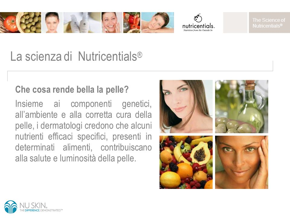 The Science of Nutricentials ® La scienza di Nutricentials ® Che cosa rende bella la pelle.